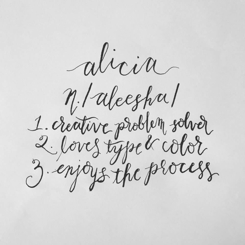 Alicia definition in modern calligraphy style