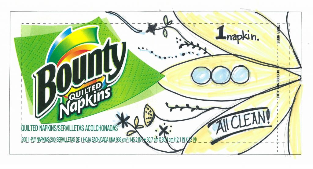 Bounty napkins packaging sketches close up detail