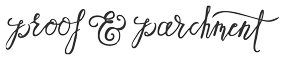Proof and Parchment calligraphy logo