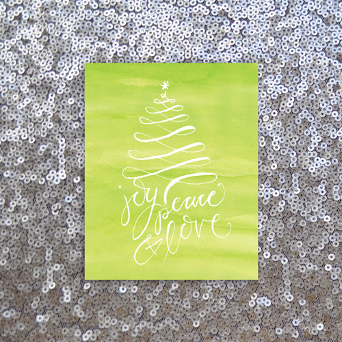 Calligraphy Watercolor Holiday Print: Joy Peace & Love, glitter background