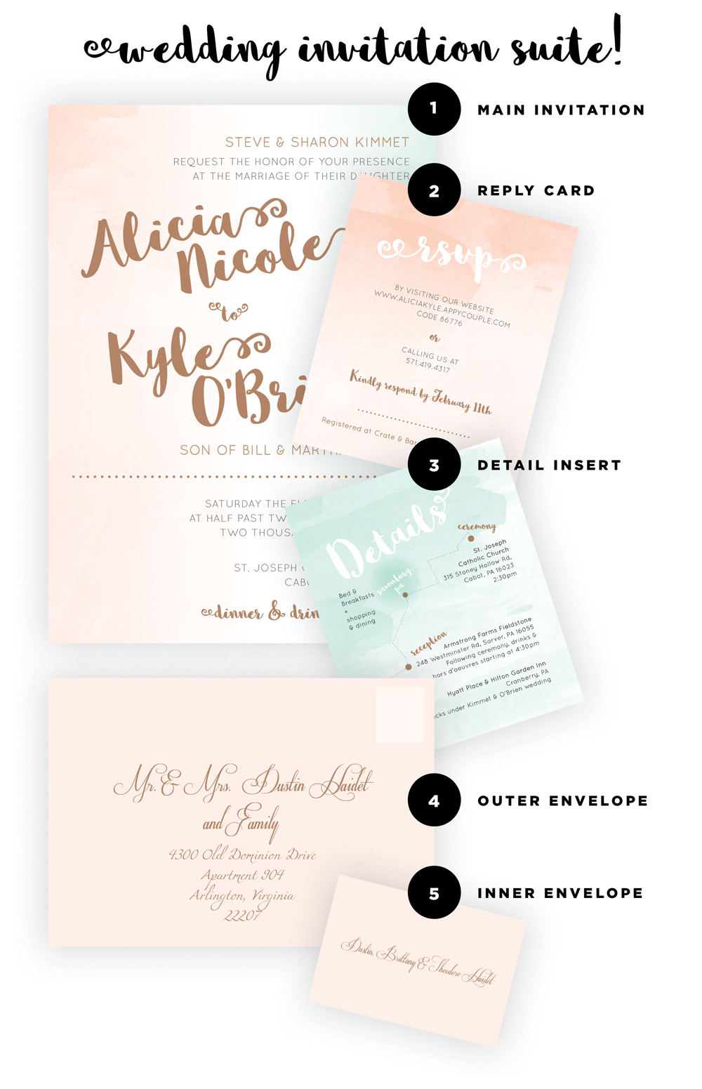 There are many elements of a wedding invitation suite. I will go over the essential parts along with the secondary elements to help you know what is needed when crafting your wedding invitation suite. The parts include the main invitation, detail insert, RSVP, main envelope & more, check out the full details here!