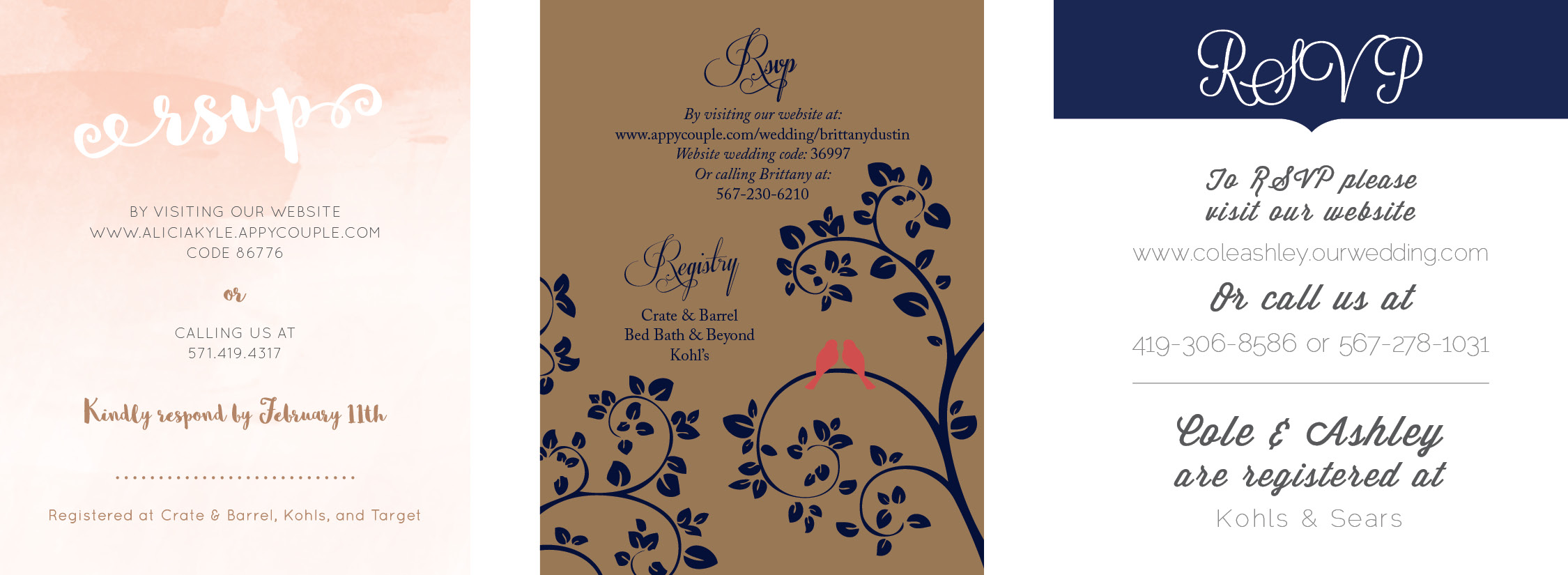 Examples of Wedding Invitations RSVP Cards