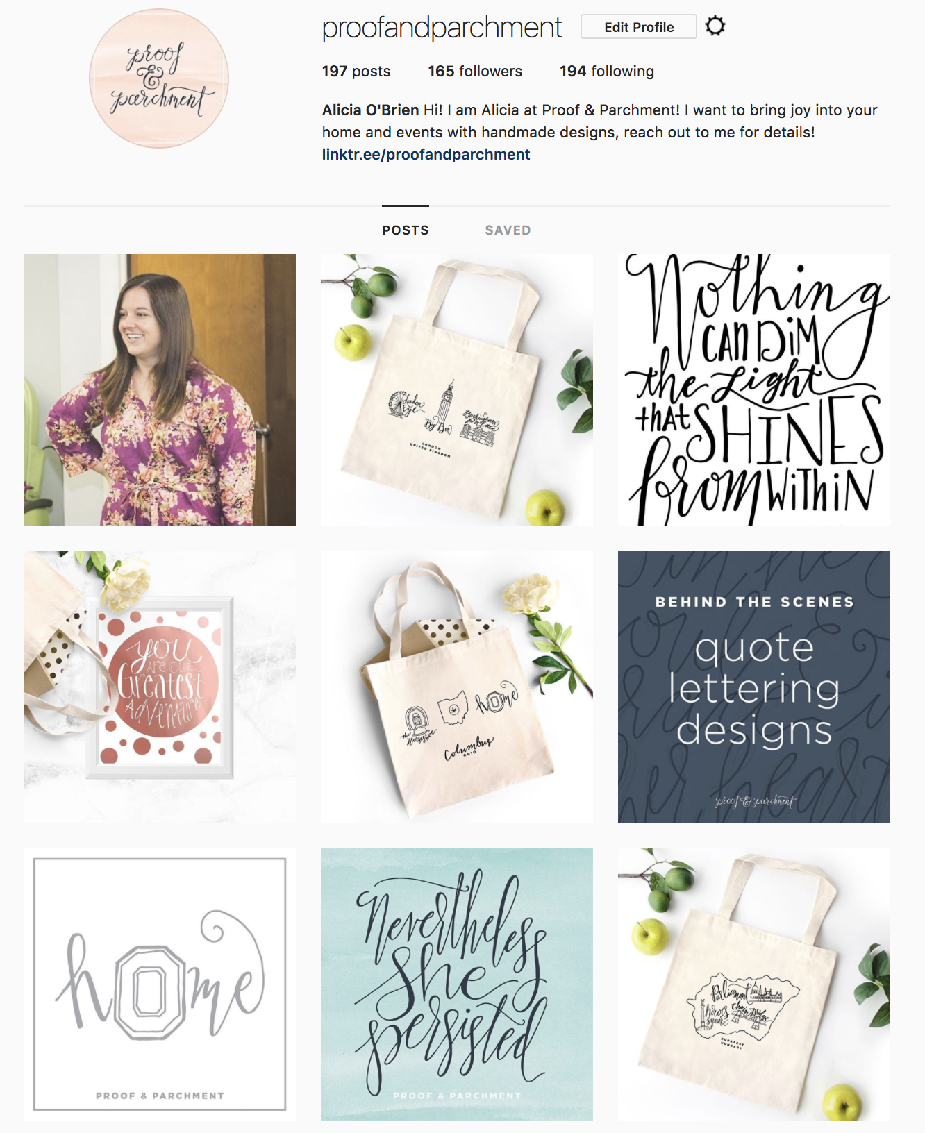 Proof & Parchment branding example with Instagram