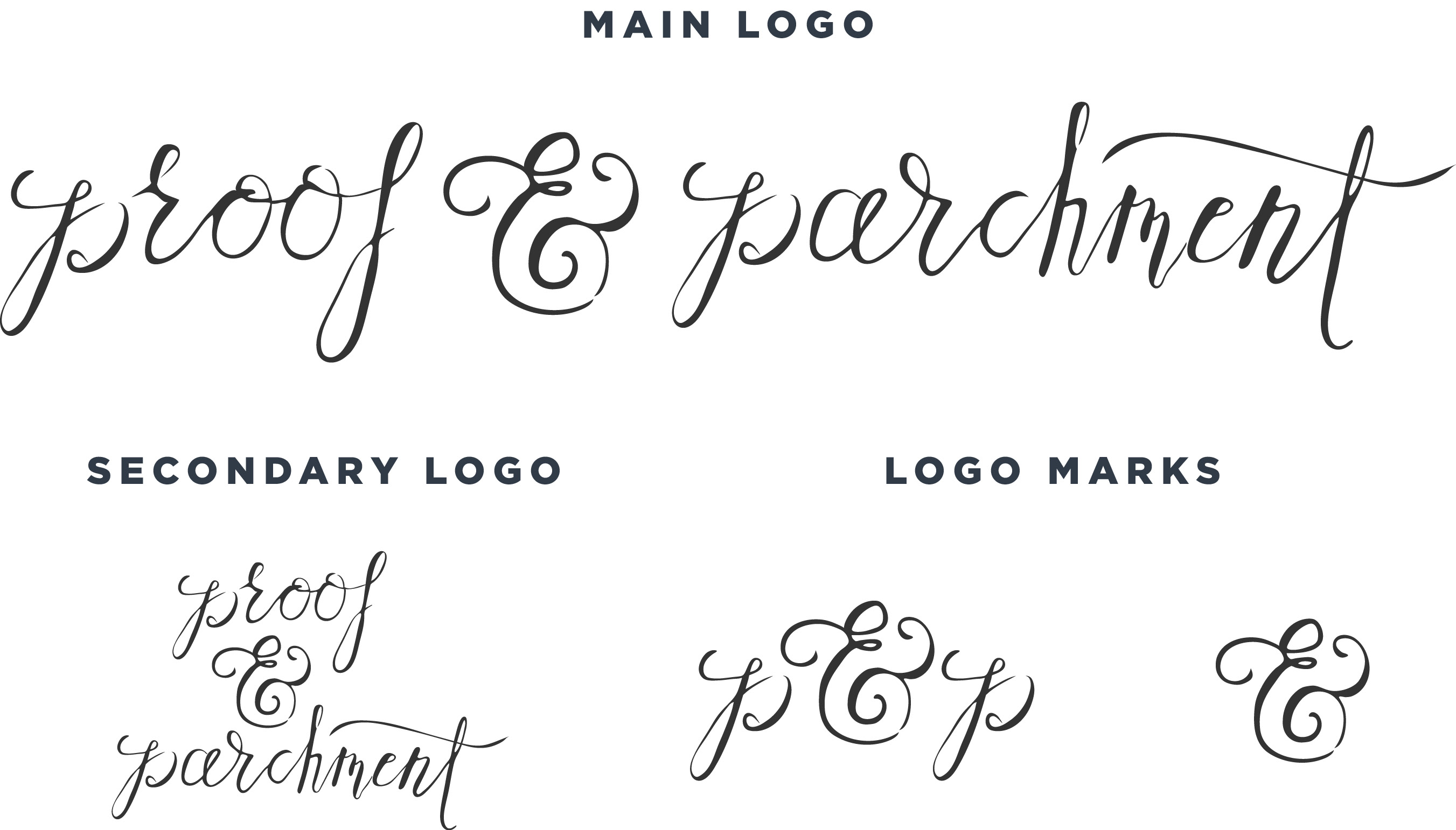Proof & Parchment branding logos