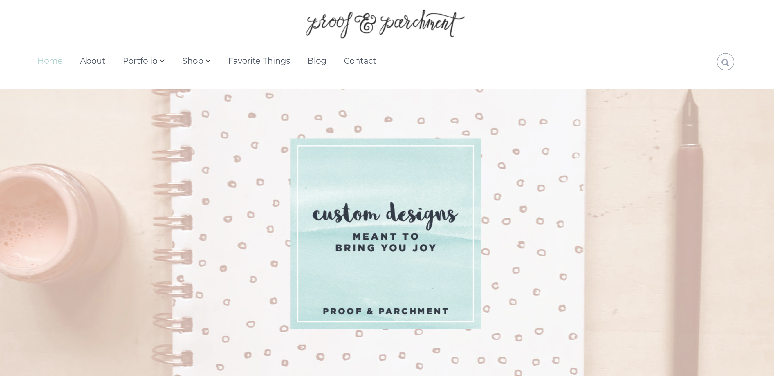 Proof & Parchment branding example on website