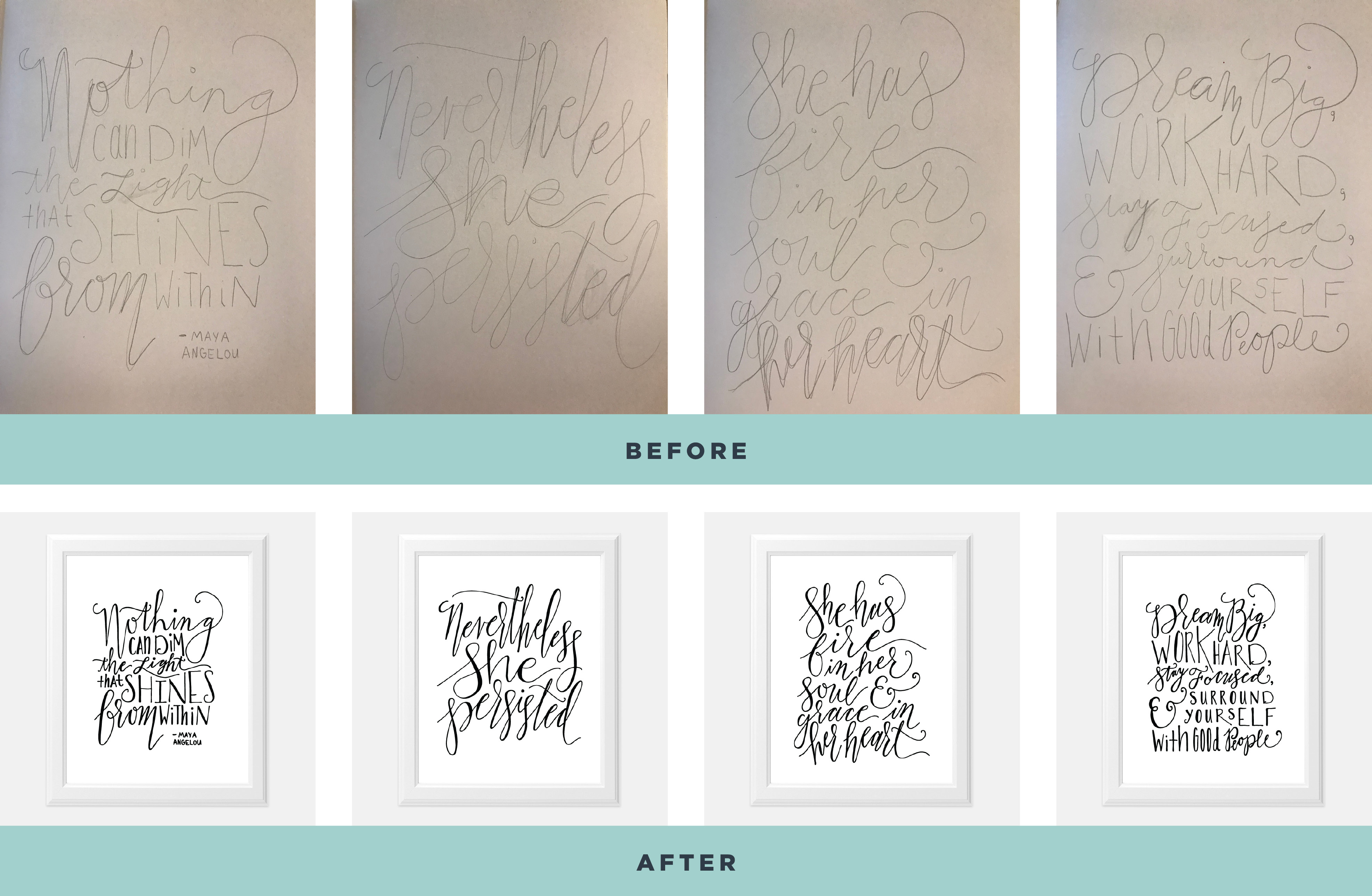 before and after shots of new quote designs from pencil sketch to digital art