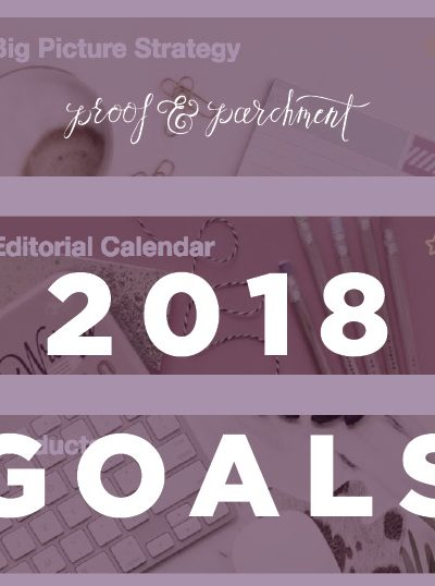 2018 goals at Proof & Parchment header