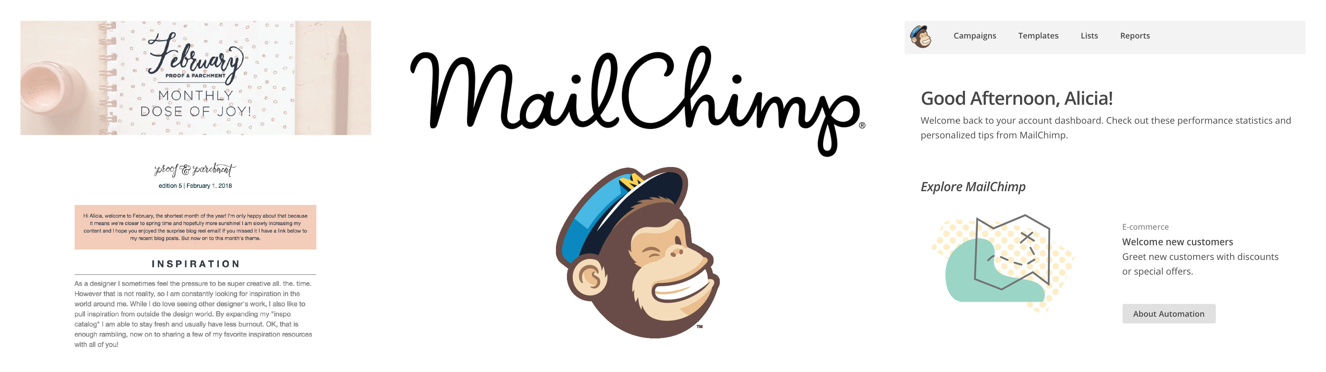 Business tool screenshots from MailChimp