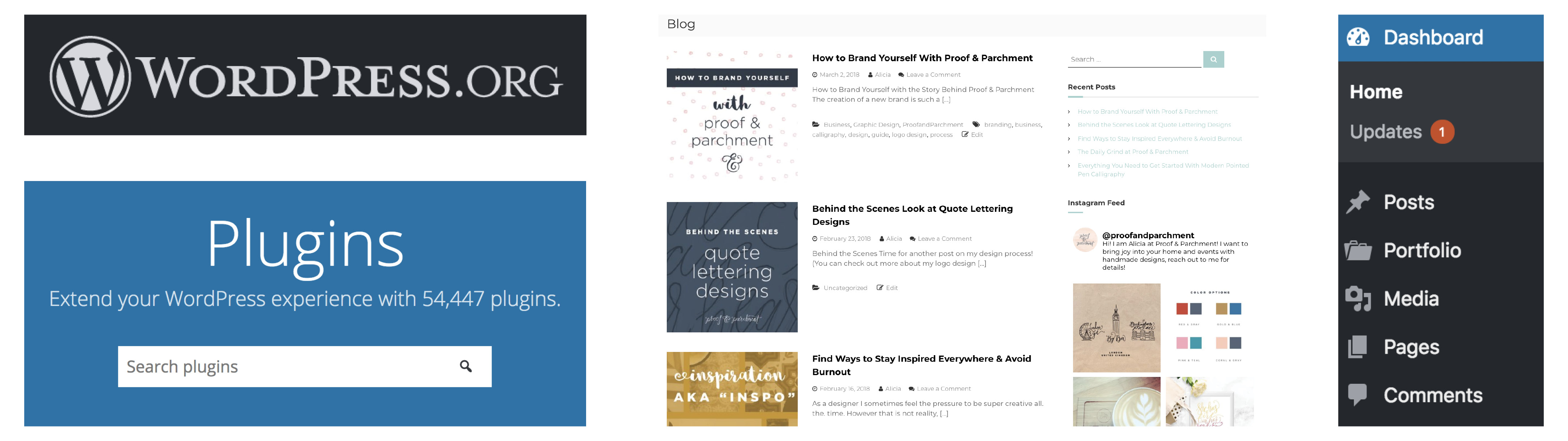 Business tool screenshots from WordPress