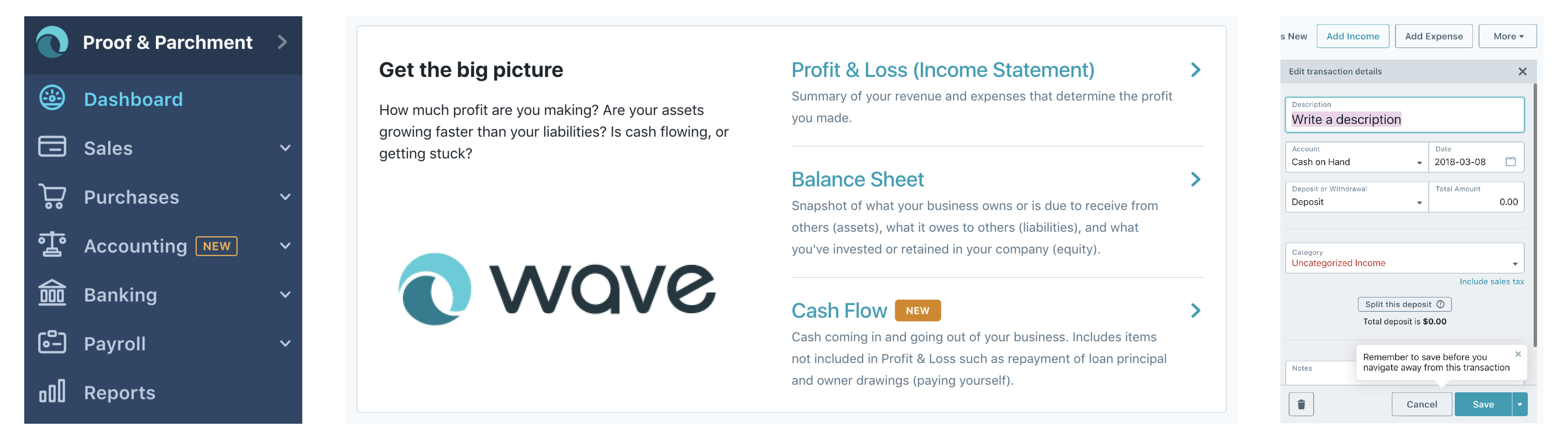 Business tool screenshots from Wave