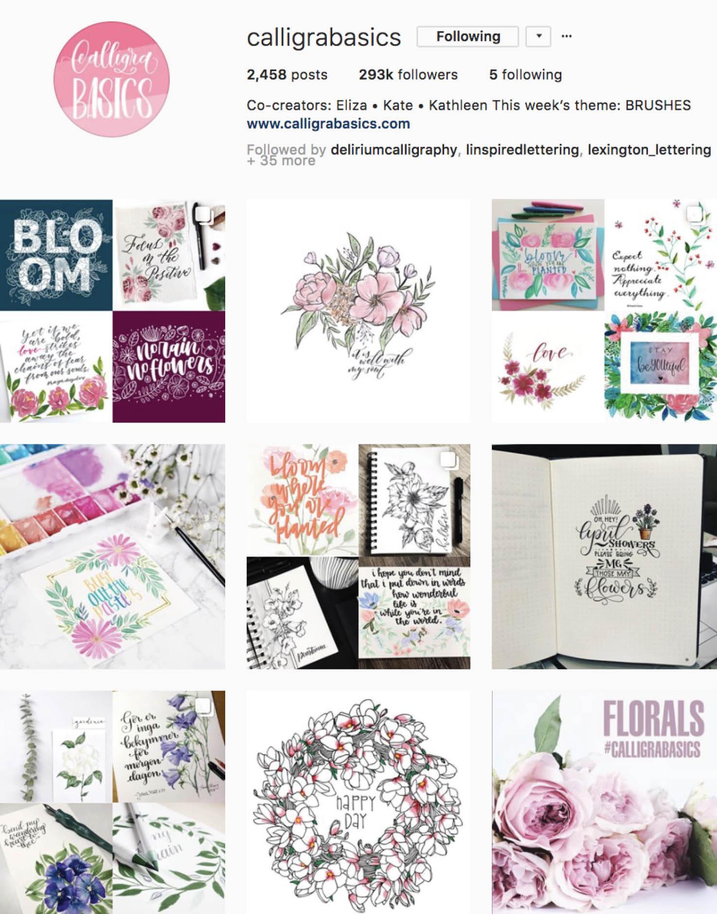 Calligraphy Social Media Inspiration: Calligrabasics IG