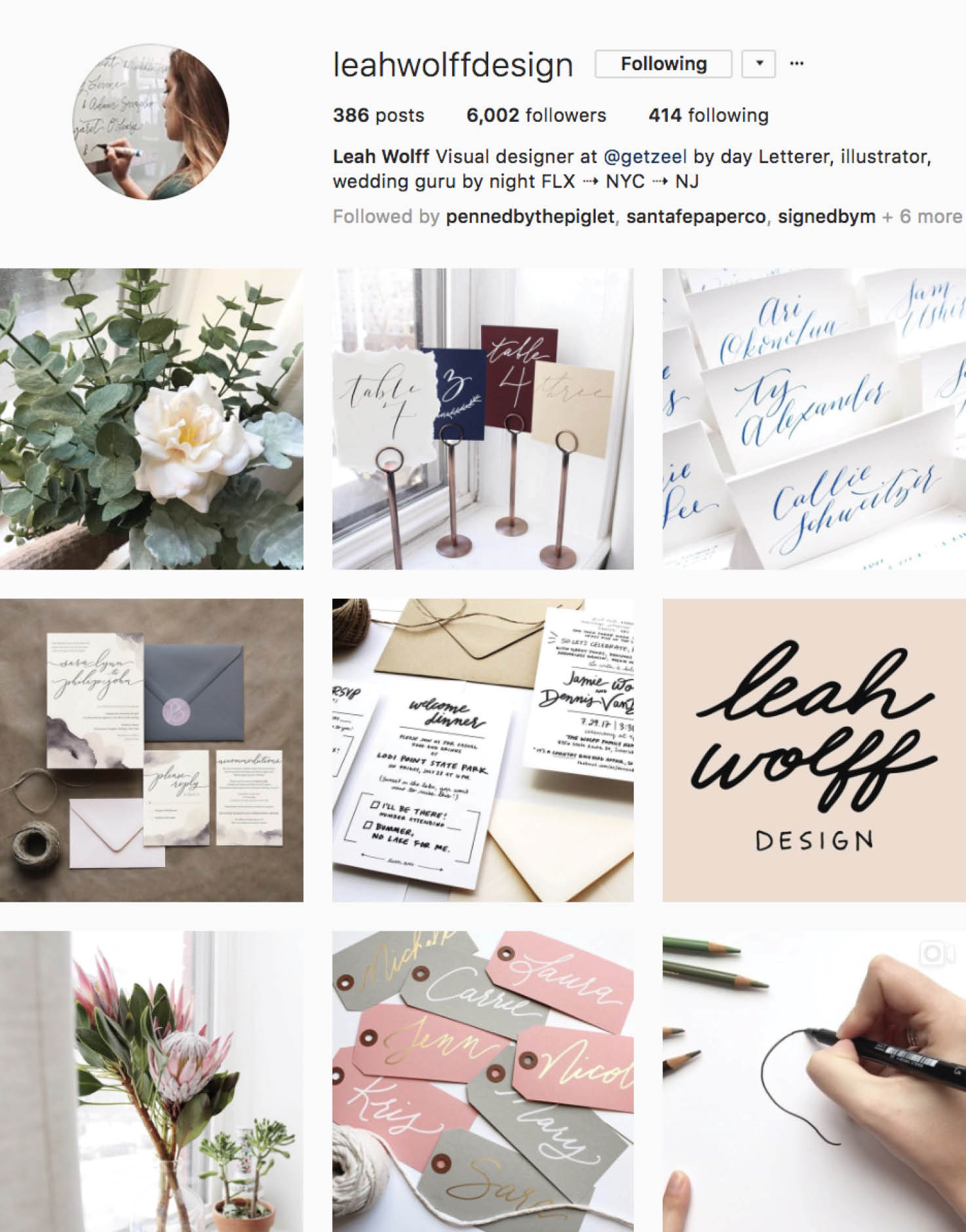Calligraphy Social Media Inspiration: Leah Wolf Designs IG