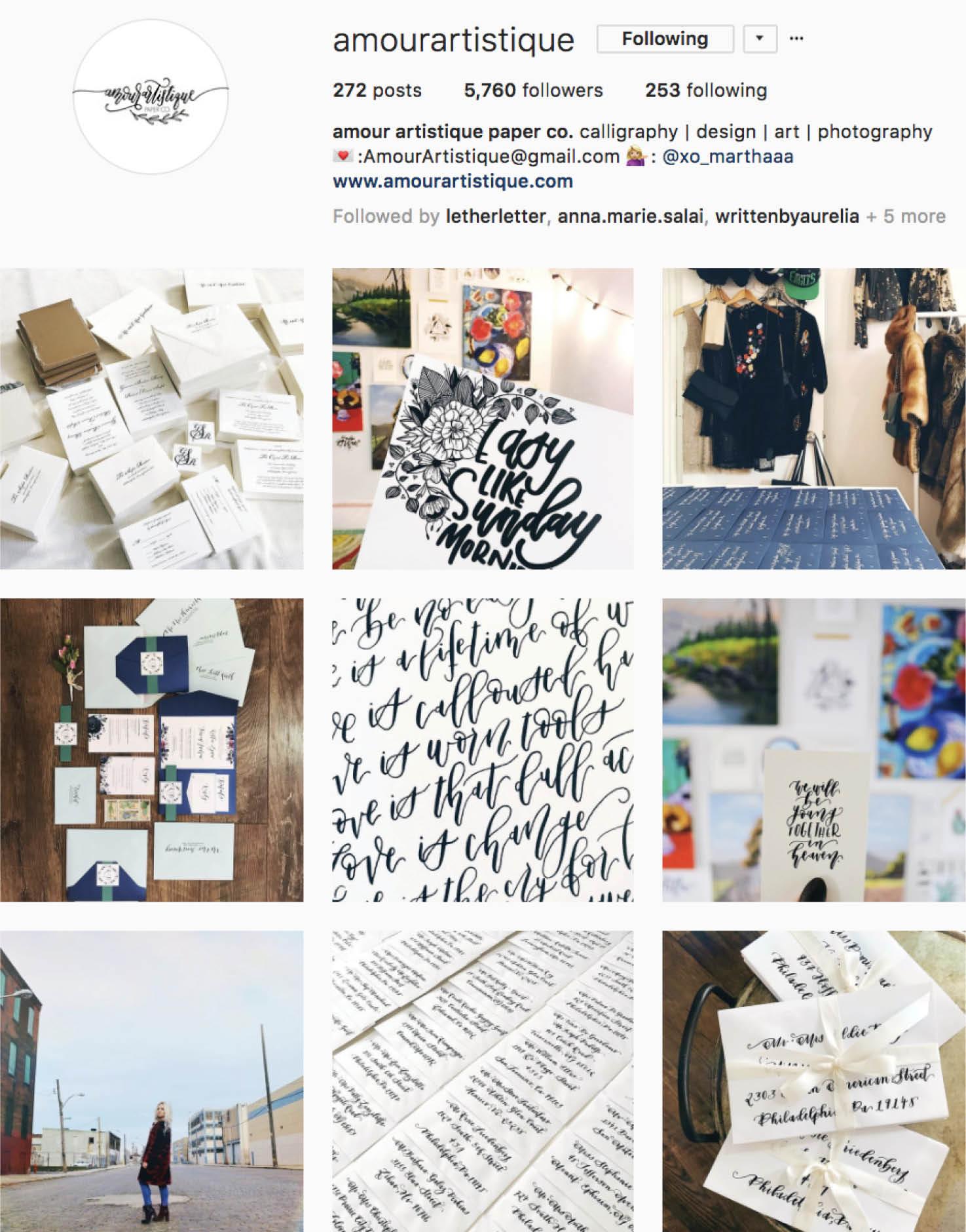 Calligraphy Social Media Inspiration: Amour Artistique IG