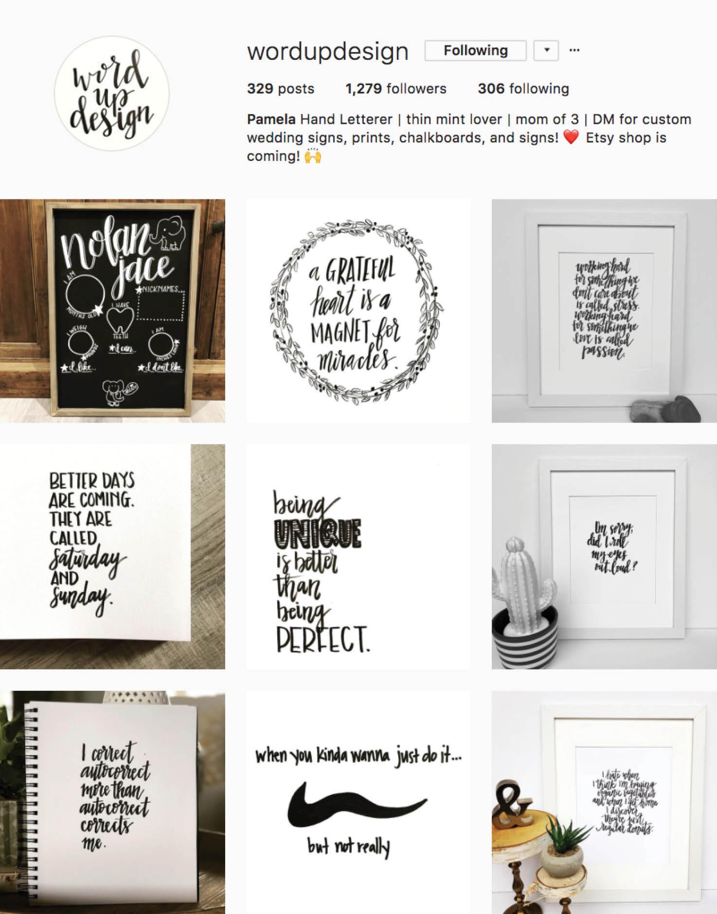 Calligraphy Social Media Inspiration: Word Up Design IG