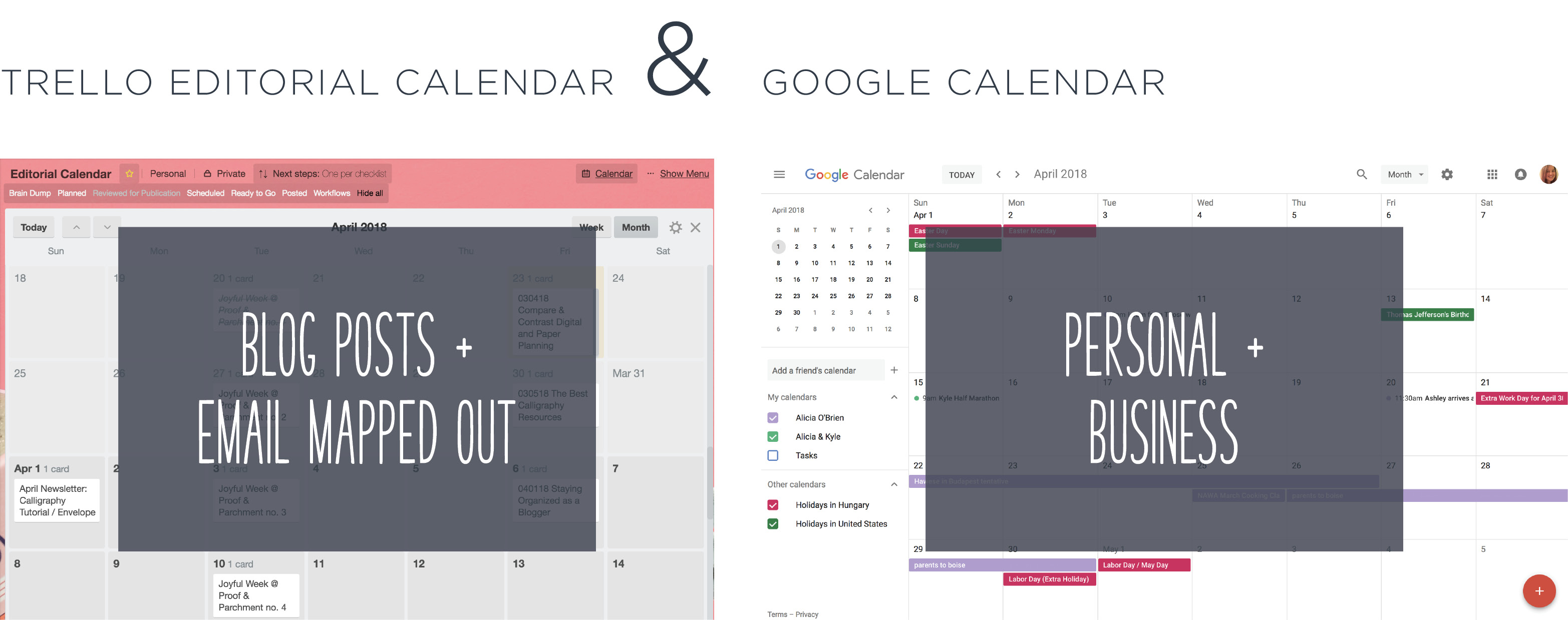 Digital planning tools including Google Calendar and Trello Editorial Calendar