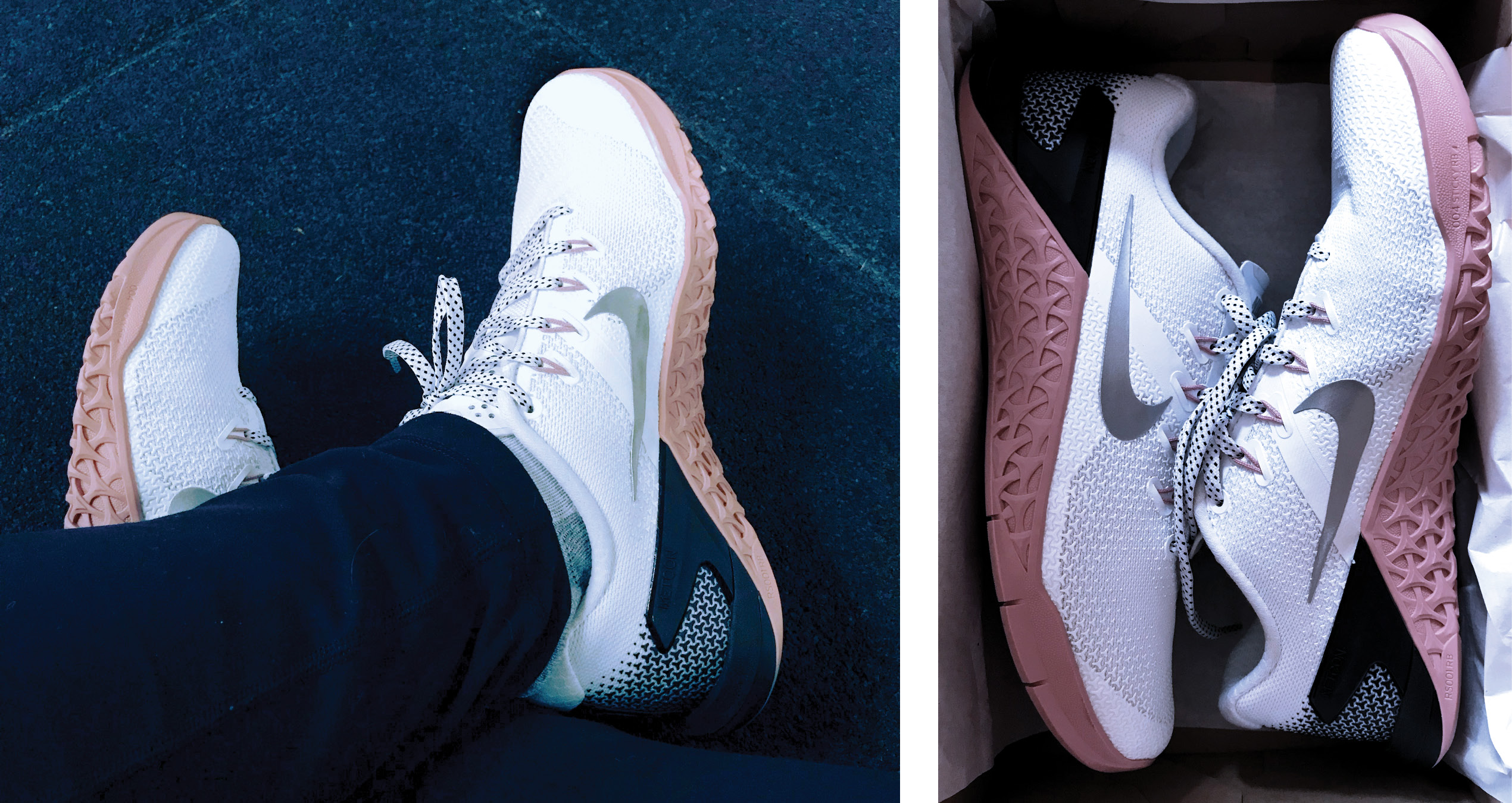 Nike Metcons 4 new pink and black and white crossfit shoes
