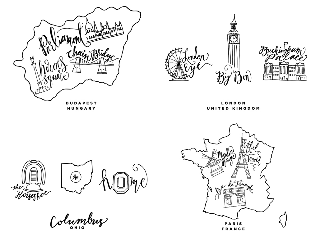 Behind the Scenes of City Inspired Designs: Final designs for Budapest, London, Paris, Columbus
