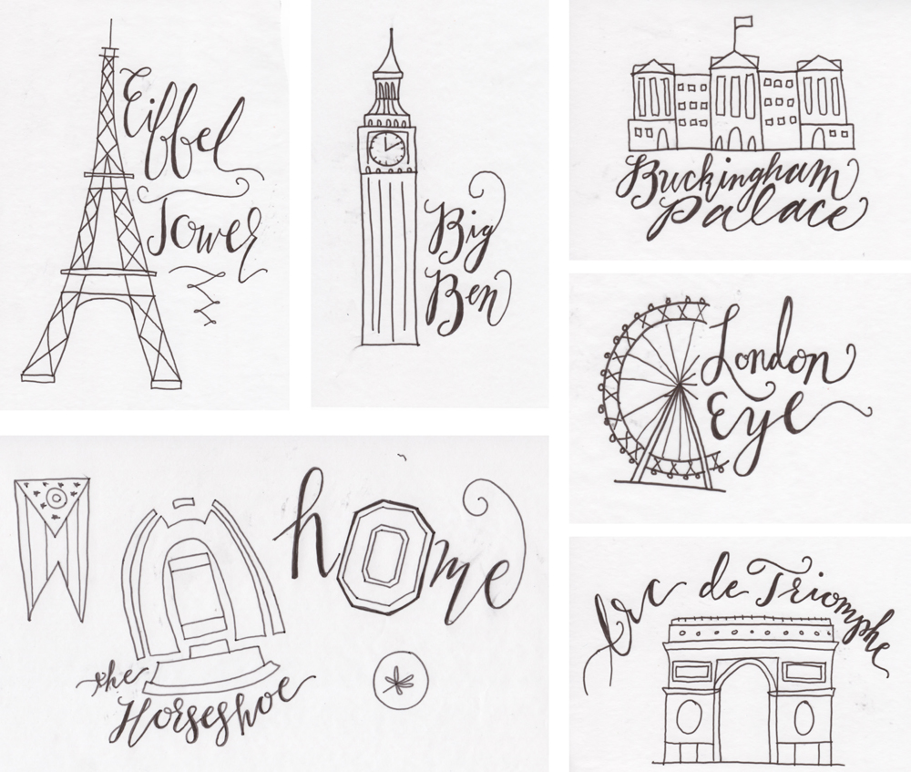 Behind the Scenes of City Inspired Designs: Scans of designs for Budapest, London, Paris, Columbus