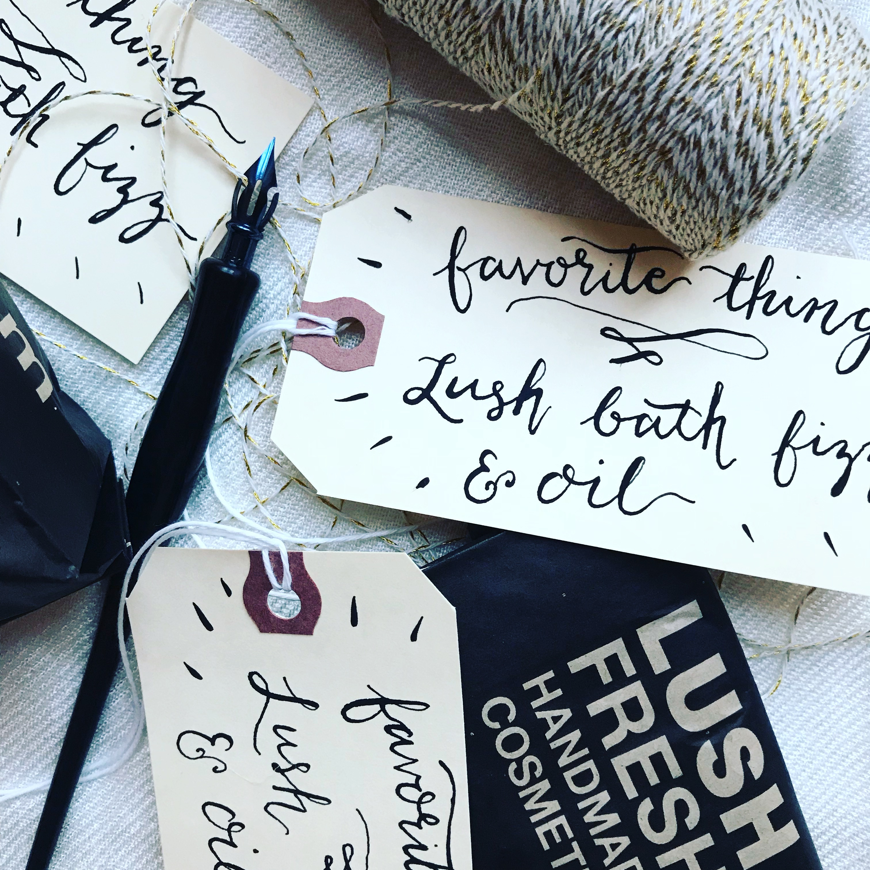 Proof & Parchment 31 fun ways to use modern calligraphy: Luggage tags with modern calligraphy used as gift labels