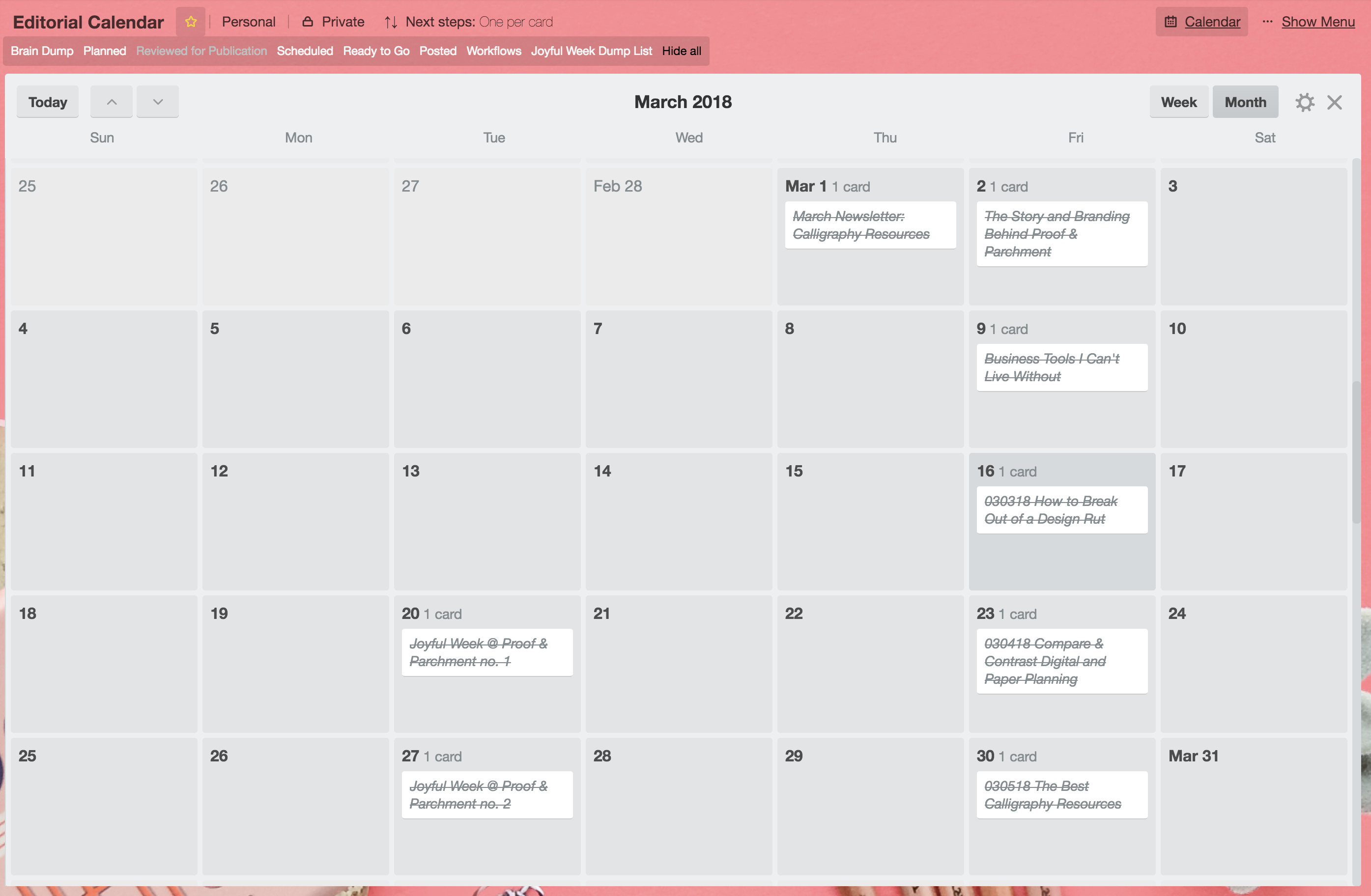 How to Stay Organized as a Blogger: Calendar schedule