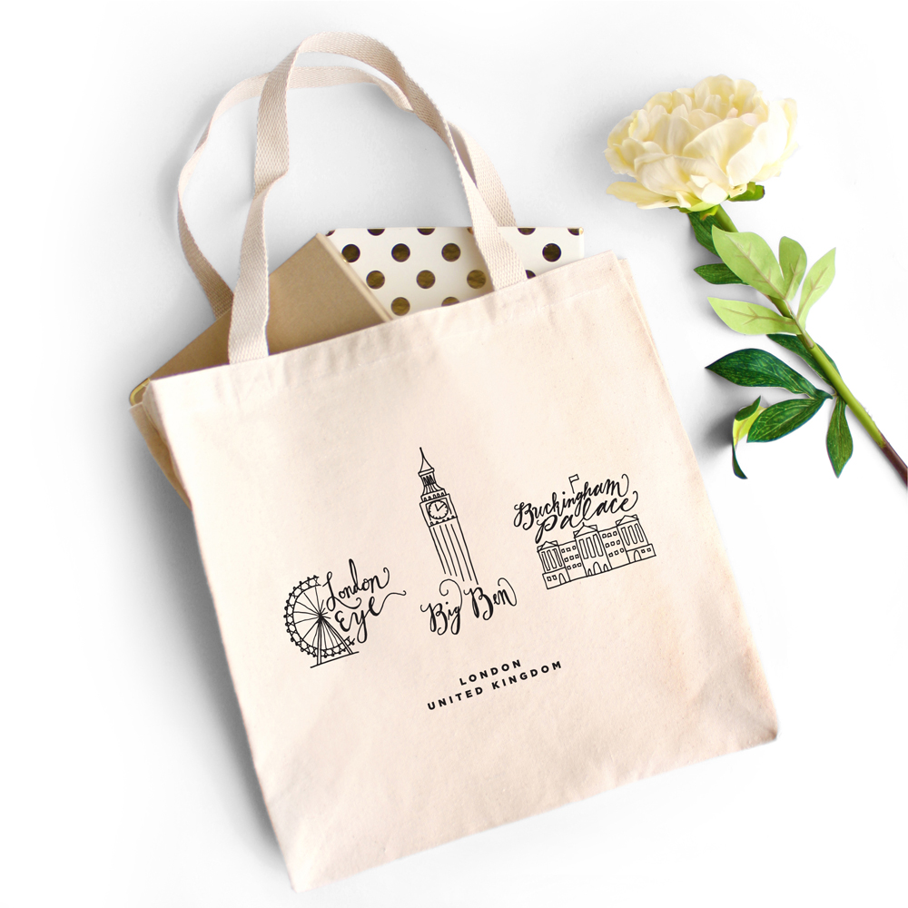 Proof & Parchment 31 fun ways to use modern calligraphy: London tote bag with landmarks and modern calligraphy artwork