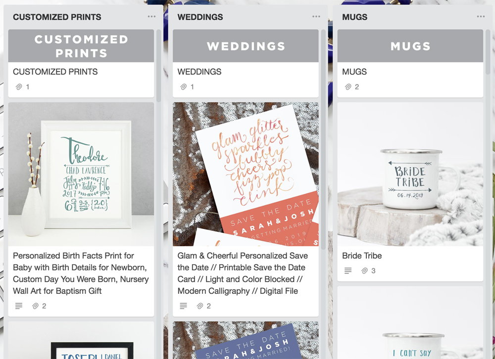 How to Organize Etsy with Trello: Etsy Product Cards