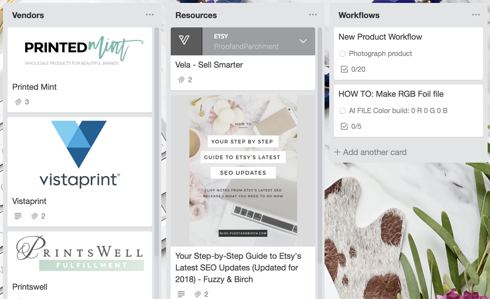 How to Organize Etsy with Trello: Vendors, Resources, and Workflows