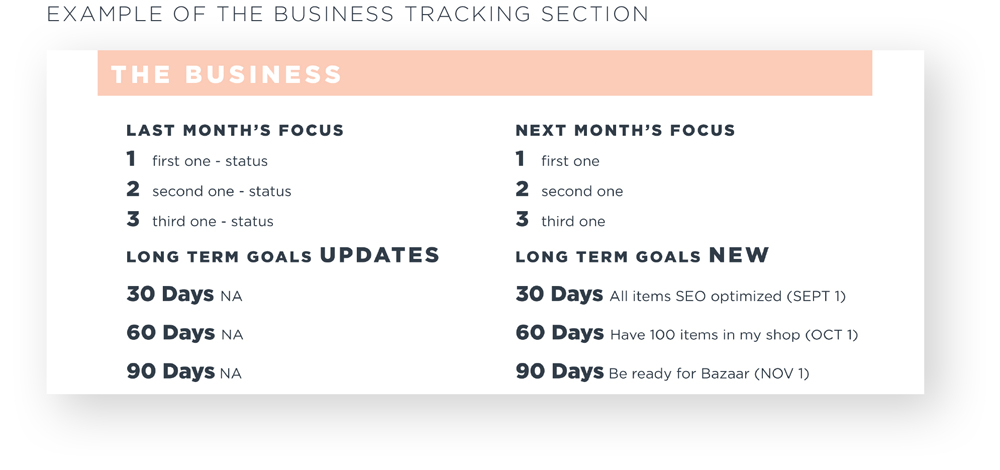 How To Track Your Business: Monthly Worksheet The Business Example
