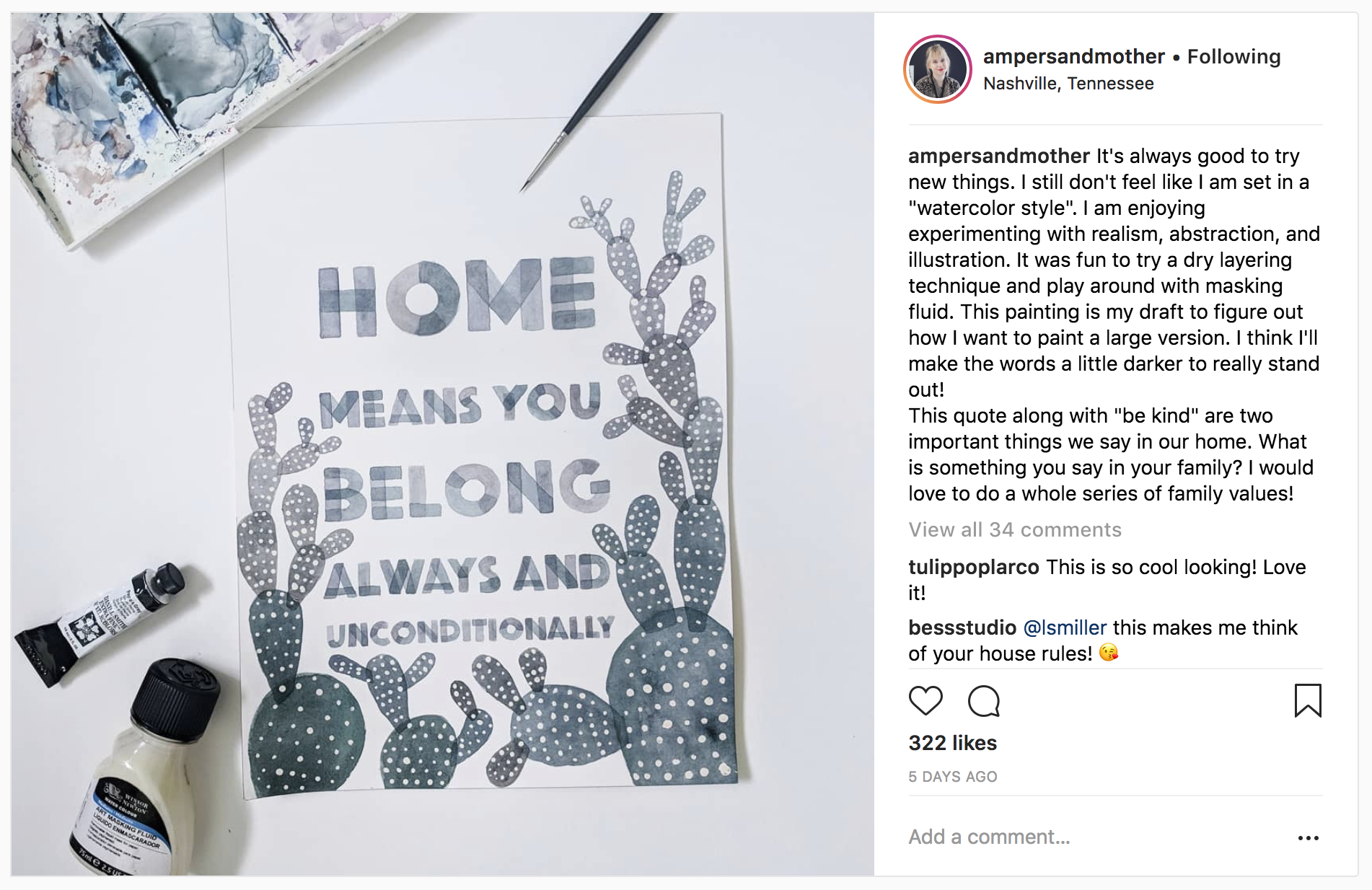 10 Watercolor Artist Inspiration Accounts to Follow: ampersandmother