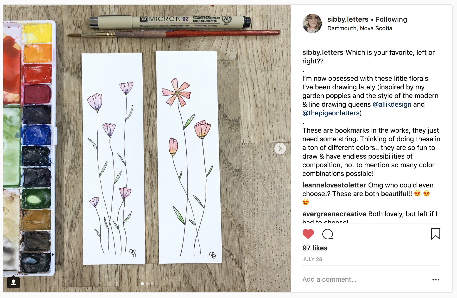 10 Watercolor Artist Inspiration Accounts to Follow: sibby.letters