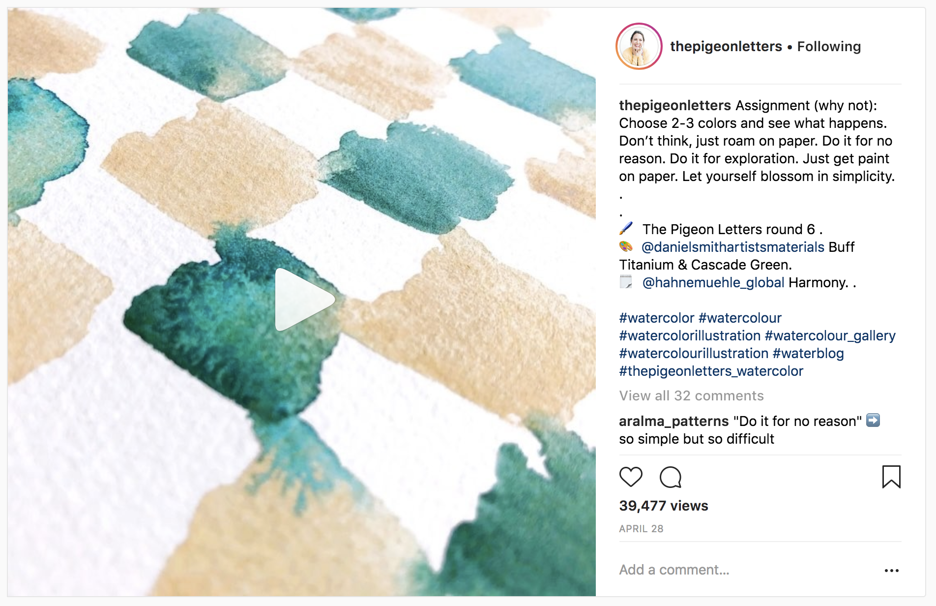 10 Watercolor Artist Inspiration Accounts to Follow: thepigeonletters