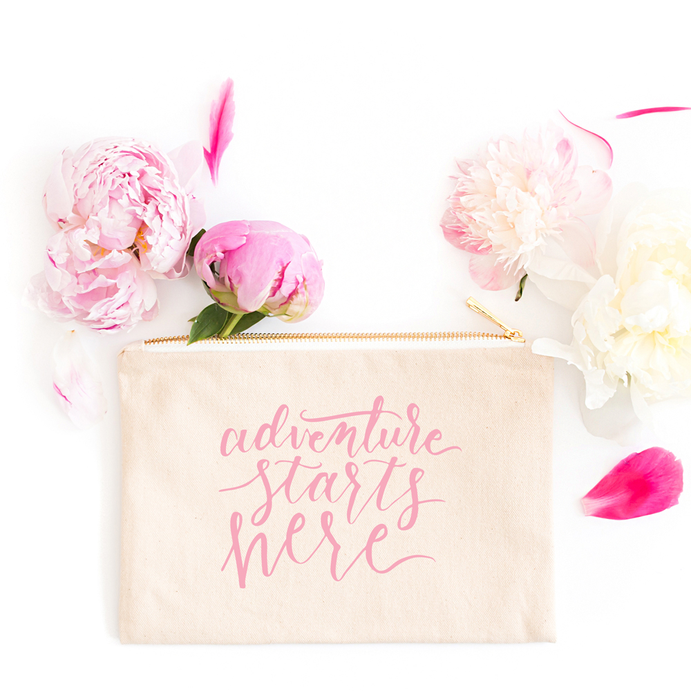 An Overview and Comparison of Lettering Styles: Modern Calligraphy on makeup bag