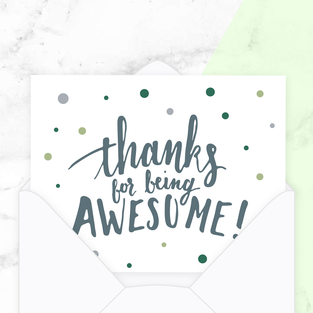 An Overview and Comparison of Lettering Styles: Mixed Style on a thank you card
