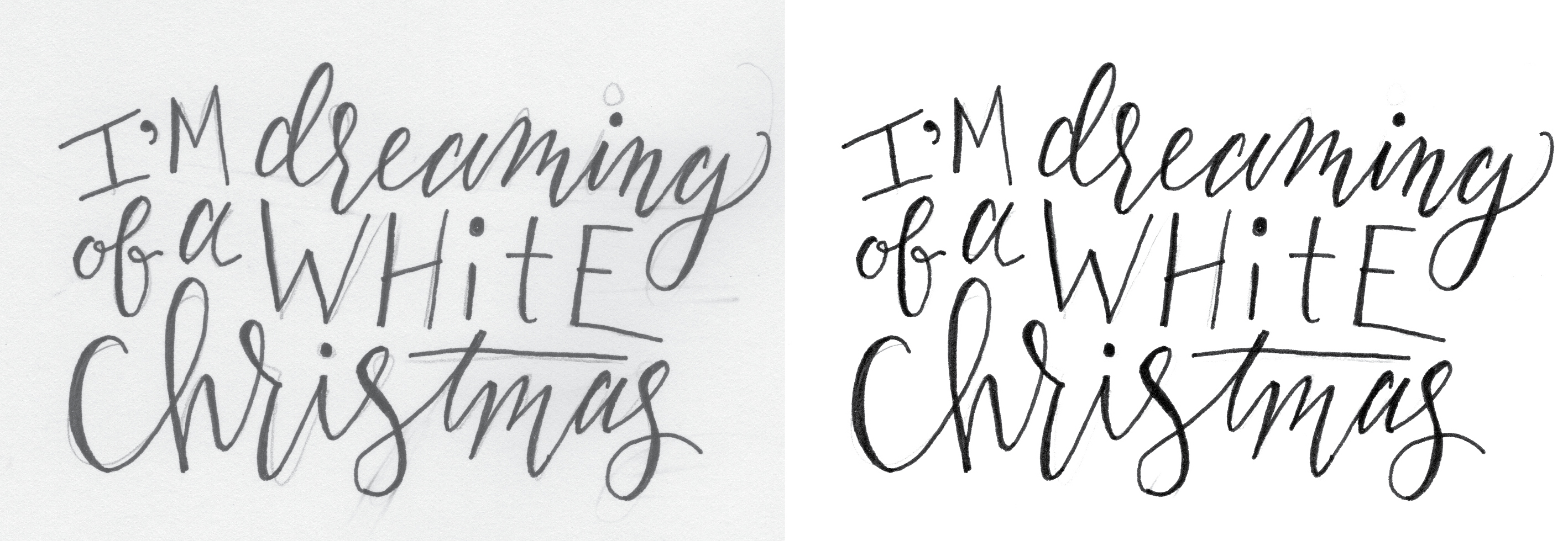Behind the Designs of Christmas Cards: I'm Dreaming of a White Christmas sketches