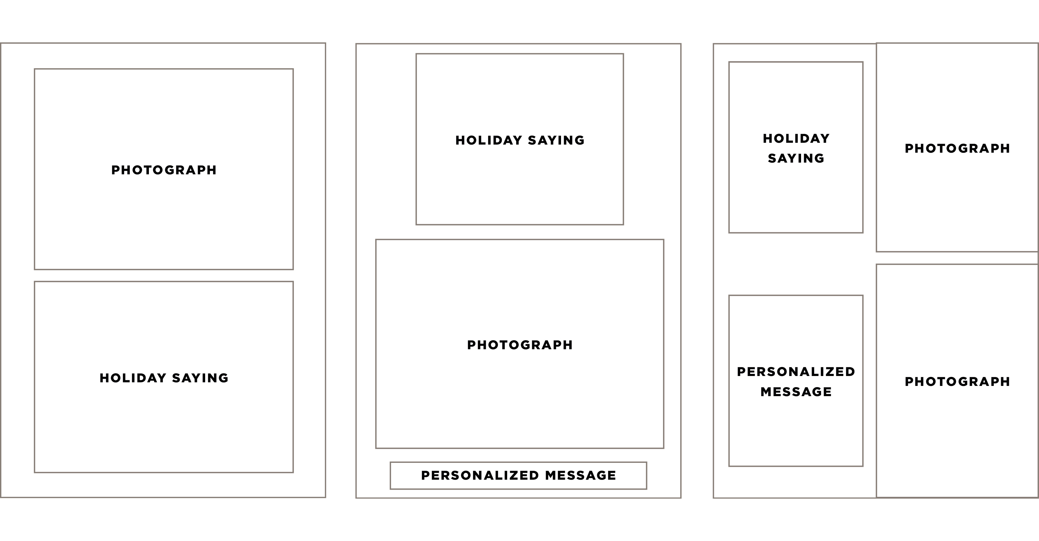 Behind the Designs of Christmas Cards: Wireframes created from thumbnail sketches