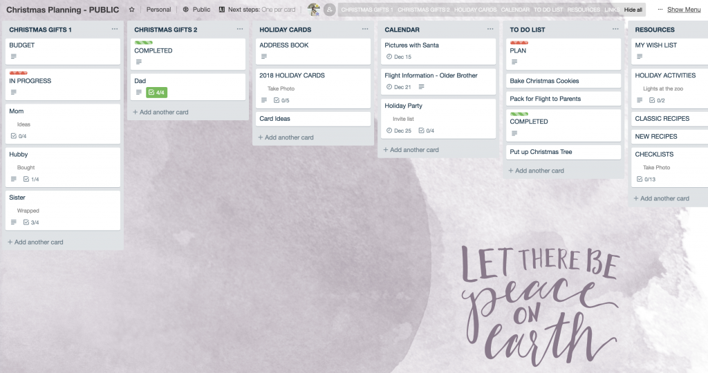 5 Ways to Stay Organized for the Holidays with Trello: Trello Holiday Board