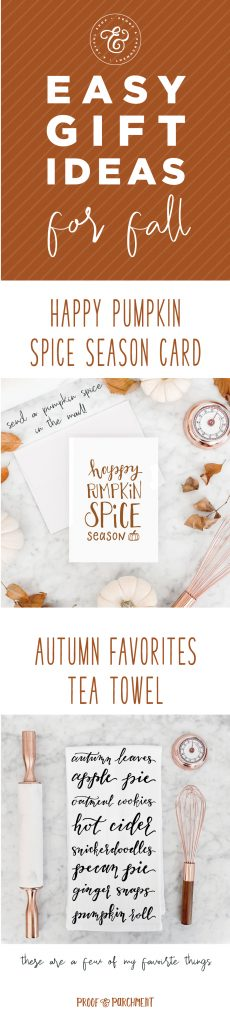 Easy Gift Ideas For Fall: Pumpkin spice card and autumn favorites tea towel