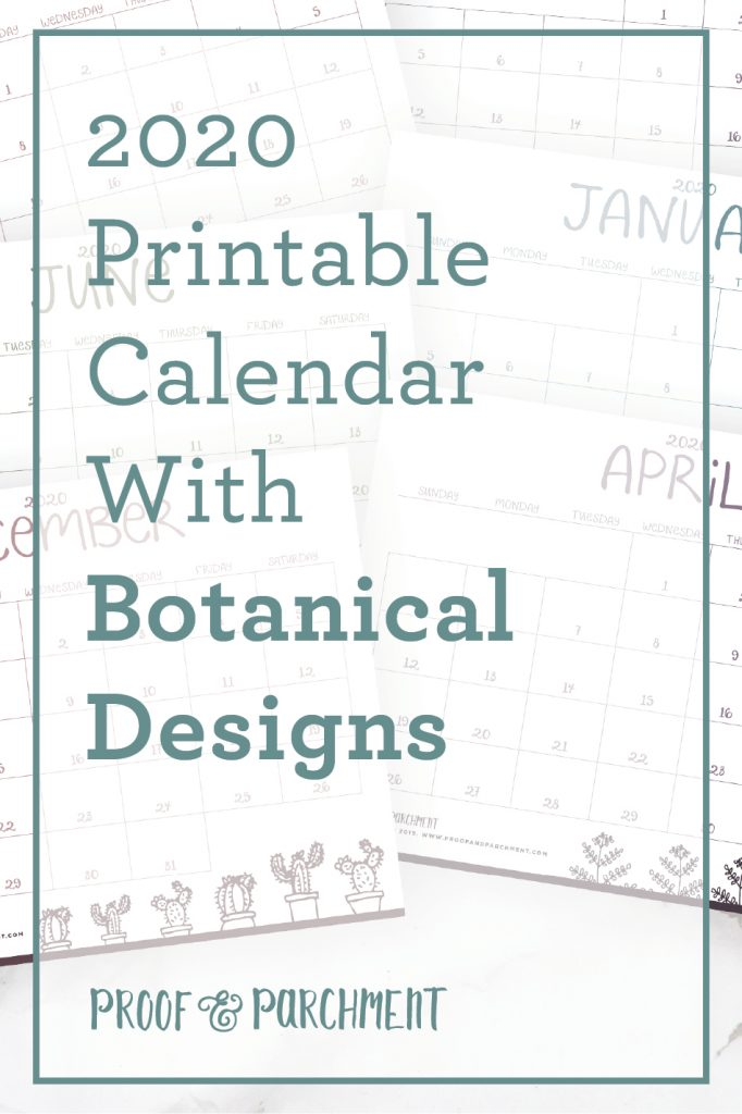 202 Printable Calendar with Botanical Designs