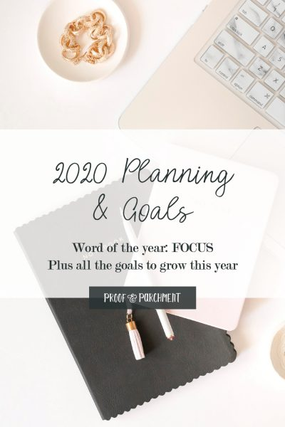 Overhead shot of black notebook and pink laptop with text overlaid: 2020 Planning & Goals, Word of the year: FOCUS Plus all the goals to grow this year