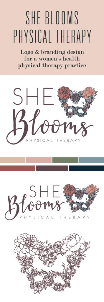 She Blooms Physical Therapy branding board with logo options, colors, and icons