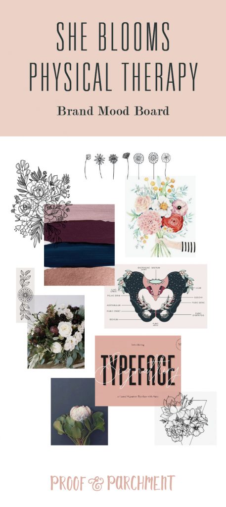 She Blooms physical therapy brand mood board with imagery of florals, watercolor, typography, and photography