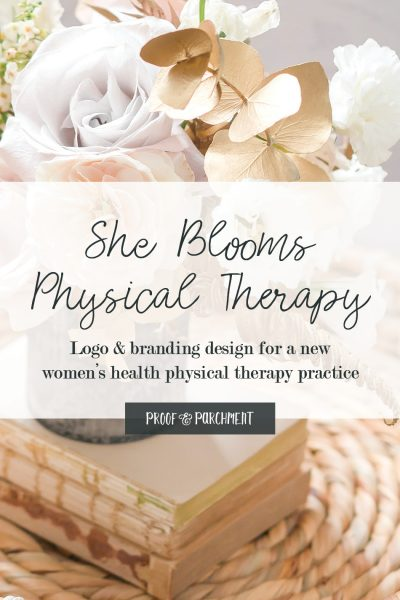 Floral arrangement with She Blooms Physical Therapy text overlaid
