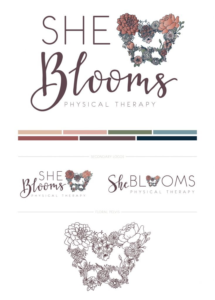 She Blooms floral logo design, color palette, and secondary logo variations