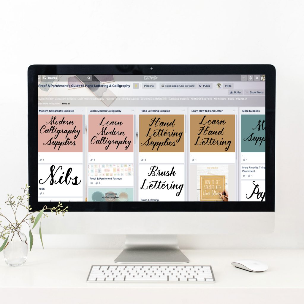 Computer screen filled with Trello page of Calligraphy and Hand Lettering Resources