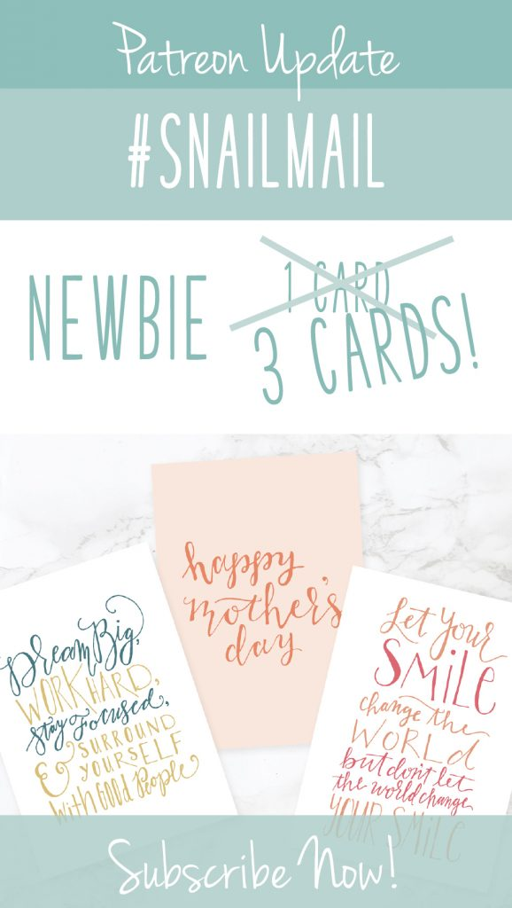 Greeting cards with text graphic: Patreon Update Snailmail Newbie, 3 cards, subscribe now