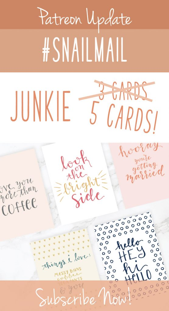 Greeting cards with text graphic: Patreon Update Snailmail Junkie, 5 cards, subscribe now