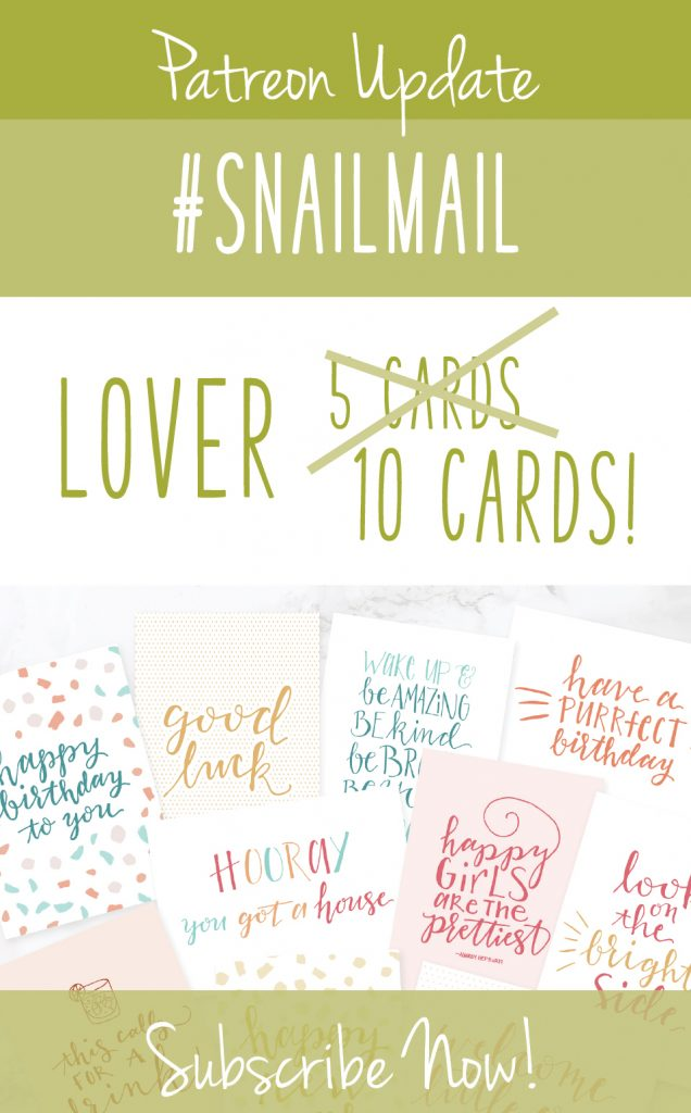 Greeting cards with text graphic: Patreon Update Snailmail Lover, 10 cards, subscribe now