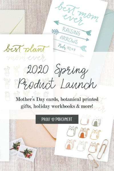 Variety of mother's day cards with test overlaid: 2020 Spring Product Launch, Mother's Day cards, botanical printed gifts, holiday workbooks, & more