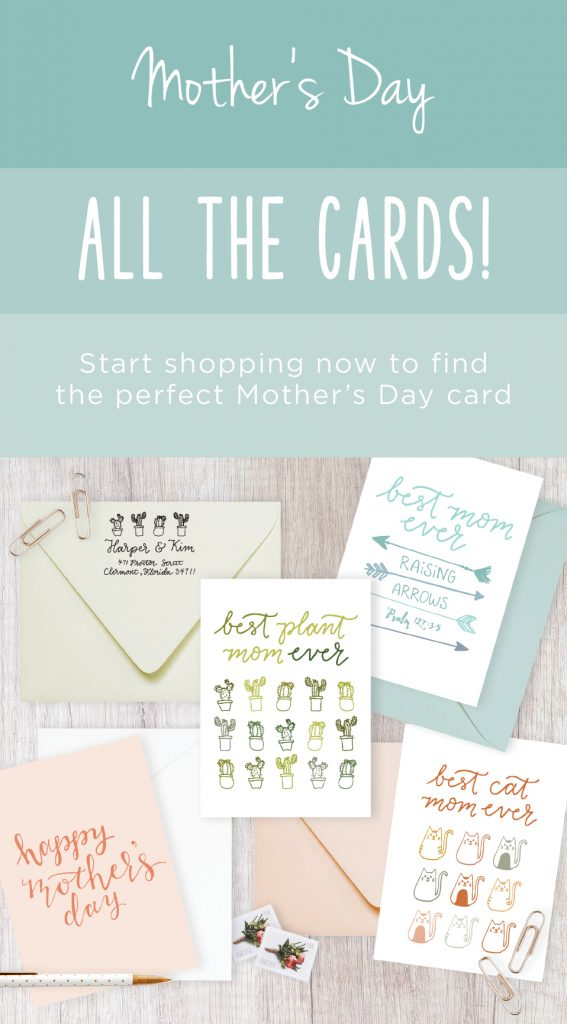 Variety of mother's day cards with test graphic: Mother's Day, All the cards! Start shopping now to find the perfect Mother's Day card