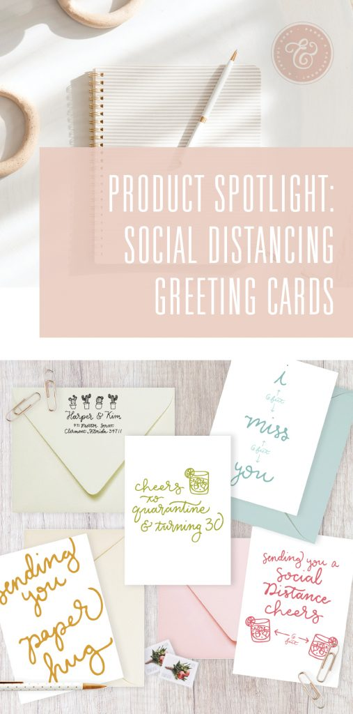 Notebook and social distancing themed greeting card collection with text overlaid: Product Spotlight, Social Distancing Greeting Cards